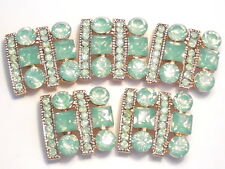 5 - 2 HOLE SLIDER BEADS GOLD PLATED GREEN OPAL ROUND, SQUARE ACRYLIC RHINESTONES
