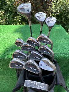 Men's RH Titleist DTR Pro Trajectory Full Golf Set Irons Woods Bag Regular Flex