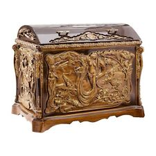 HANDMADE WOODEN DECORATIVE CARVED TRUNK CHEST INTERIOR HOME DECOR ASH-TREE WOOD