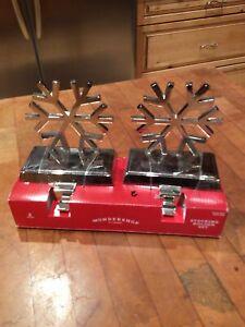 Wondershop 2pk Silver Metal Snowflake Christmas Stocking Holder