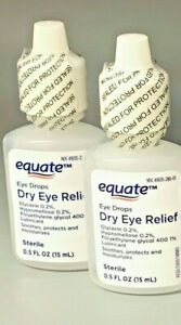 Equate Dry Eye Relief Eye Drops Sterile Exp 03/2022+ (2 PACK)