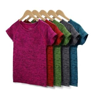 Women T Shirt Running Workout Breathable Exercises Short Sleeve Tops 5 Colors