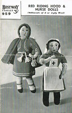 Vintage Nurse and Red Riding Hood  knitting pattern. Laminated  copy.