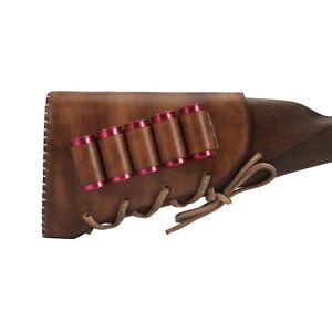 TOURBON Shooting Leather Shotgun Buttstock Cheek Rest 12GA Shells Holder Brown