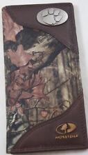 ZEP-PRO Clemson Tiger Roper Leather & Nylon MOSSY OAK Camo Wallet BURLAP BAG