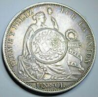 1894 Guatemala Peso Countermarked On 1893 Peru Un Sol Antique Counterstamp Coin