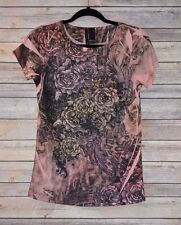 Saint Tropez West Womens T-Shirt Top Size Small Orange Roses Graphics