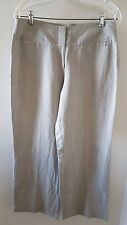 NWOT EILEEN FISHER Linen Blend Grayish Stone Beige Flat Front Wide Leg Pants -S