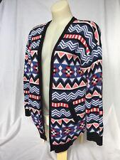 Colourful Aztec Cardigan H&M - Multicolour Blue Pink White Black Red Winter
