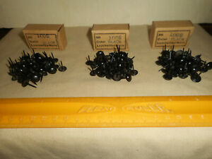 """Vintage Upholstery Nails 150 Black Leather Like 3/8"""" Domed Head 5/8"""" Length Nos"""