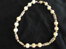 """NECKLACE - CREAM BEADS W/GOLD AND MULTI-COLORED SPACERS - 15"""""""