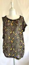 Rachel Roy Asymmetrical Sheer Butterfly Wing Print Top Size Small Black Multi