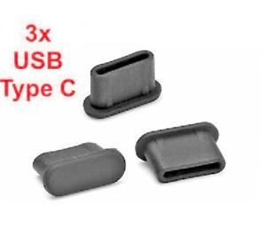 3x USB TYPE-C ANTI-DUST PLUG SILICONE for ZTE Axon Max / ZTE Blade X2 Max