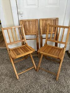 Lot Of 4 Vintage Child's Small Wooden Folding Chair Slatted - Kids Size