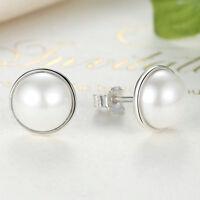 Hot Elegant Beauty 925 Sterling Silver White Freshwater Pearl Stud Earrings
