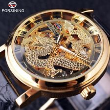 Chinese Dragon Skeleton Design Transparent Case Mechanical Mens Male Wrist Watch