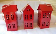 SET OF 3  RED TIN HOUSES GREAT AS HANGING ORNAMENT OR SITTING ON YOUR TABLR