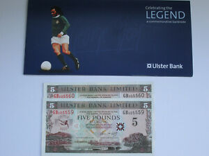 2 George Best £5 five pound note with orginal wallet GB505559 GB505560