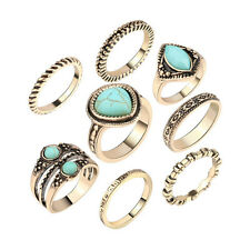 Women Turquoise Boho Wedding Jewelry Gold Plated Beach Knuckle Rings 8Pcs/Sets