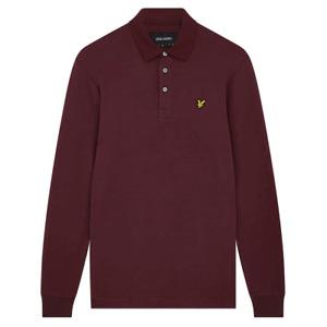 Lyle & Scott Mens Long Sleeve Brushed Collar Polo Shirt Burgundy