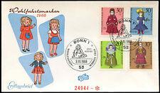 Germania occidentale 1968 BAMBOLE FDC primo giorno Coperchio #C 29170