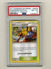 POKEMON PSA 8 NM-MINT 2017 CHAMPIONS FESTIVAL CHAMPION STAMP WORLD CARD PIKACHU