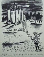 Peynet Raymond: Los Trémolos - Grabado Divertido Firmada #1943# Enamorados