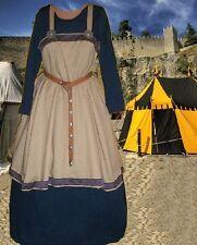 SCA Garb Norse Viking MedievalCostume TanLINENblNavyCottonApronKirtle L XL