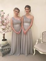 1 Shoulder Chiffon Bridesmaid Sequin Dress Prom Wedding Evening Party Ballgown
