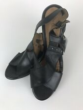 George Women's High Heel Sandals Size 11 Black Leather Strappy Studded Pump NEW