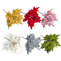 Artificial Flowers For Xmas Tree Decor Christmas Simulation Glitter Party Leaves