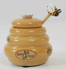 "Mini Honey Pot Ceramic Jar & Wood Dipper Joie MSC Beehive with Bee, 3"" H, NEW"