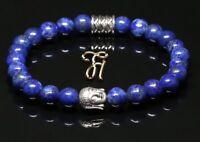 Lapislazuli blau glänzend Armband Bracelet Perlenarmband Buddhakopf silber 8mm