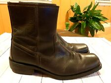 GUESS Men's Italian-Made Brown Leather Zip- Up Ankle Boots