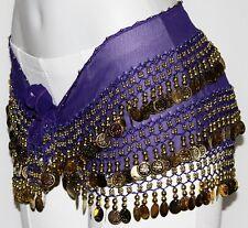 INDIGO Belly Dance Dancing Gypsy Burlesque GOLD COIN HIP SCARF Shimmy BELT