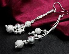 925 Silver Plated Triple Strand Bead Ball Long Drop Dangle Earrings - New - 56