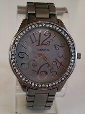 Black hematite finish big number case bracelet stone fashion boyfriend watch