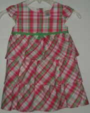 Gymboree Bright Tulips Pink Green Plaid Tier Ruffle Spring Easter Dress 18-24M