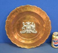 Vintage Republica de Chile Hand Hammered Copper and Silver Charger Plate Tray