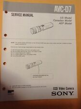 Sony original Service Manual for Avc-D7 Ccd Video Camera