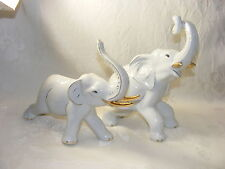 Vintage Porcelain Figurine Set of White Elephants Gold Accents
