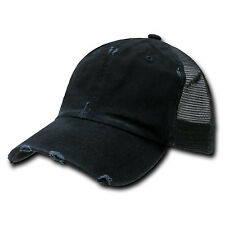 Black Vintage Washed Distressed Mesh Trucker Baseball Cap Caps Hat Snap Back