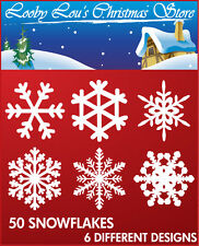 50 SNOWFLAKE CHRISTMAS WINDOW STICKERS - REUSEABLE XMAS STICKERS