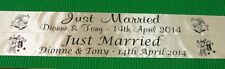PERSONALISED 100MM WIDE JUST MARRIED RIBBON BANNER 1 METRE - NEW