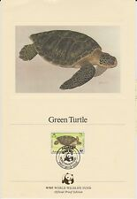 (EO56) 1983 WWF (F) official proof card green turtle &stamp