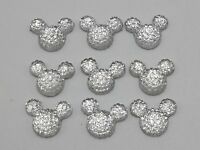 50 Clear Flatback Resin Dotted Rhinestone Gems Mouse Face Cabochon 14X12mm