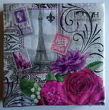 Pack 40 Paper Napkins Eiffel Tower Paris Stamps Rose Decoupage 3 Ply Serviettes