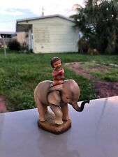 Vintage Signed Anri Carving Young Girl Riding Elephant
