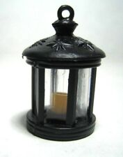 Dollhouse Miniature Round Black Iron-Look Lantern  w/Candle (NON-Electric)