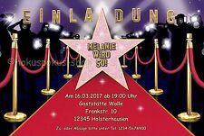 20 Einladungskarten Geburtstag Einladungen Kino VIP Star Hollywood Film Party